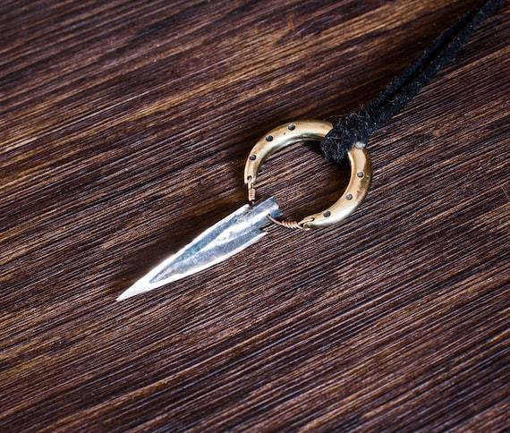 Oxidized sterling silver pendant Arrow Weapons Unisex Necklace Arrowhead Talisman Jewelry Ancient amulet