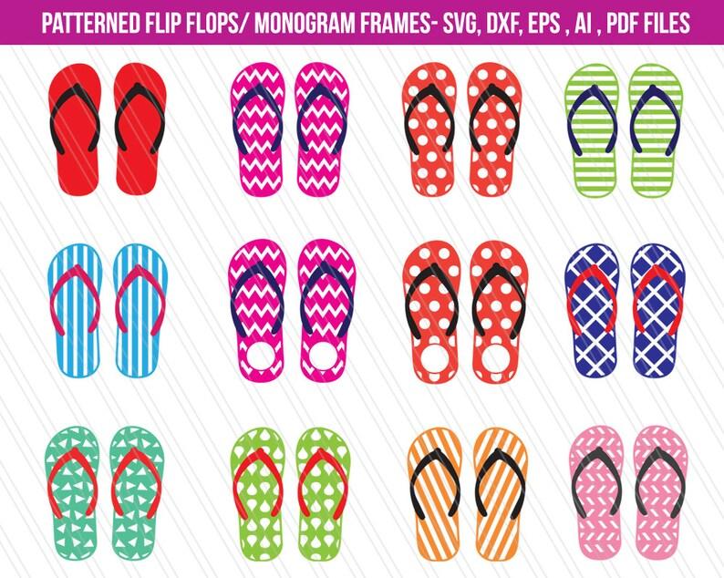 6560994cb Flip flops SVG cutting files dxf Flip flops monogram frames