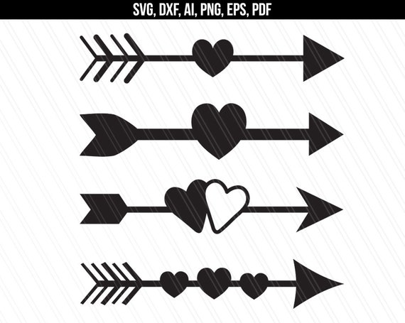 Arrow with heart svg Arrow svg dxf cut files Arrows with ...