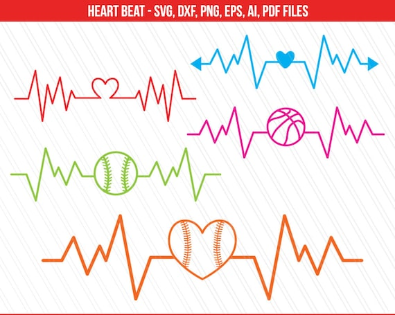 Heart Beat Svg Sports Svg Basketball Baseball Heart Etsy