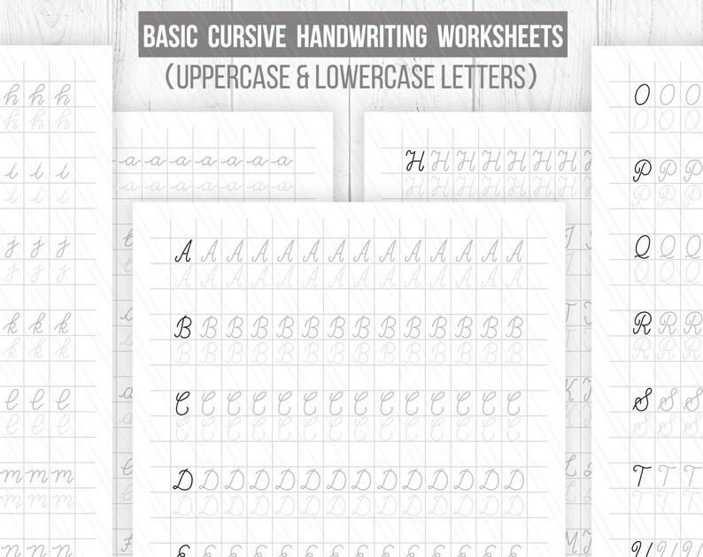 Beginner hand lettering Worksheets, Cursive Handwriting  Worksheets,Uppercase and lowercase,Printable handlettering Practice sheets-  Digital
