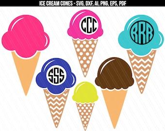 Ice cream svg, Ice cream cone svg cut files, Ice cream cone monogram, Summer SVG cricut silhouette- svg,dxf,ai,eps,pdf,png- Digital download