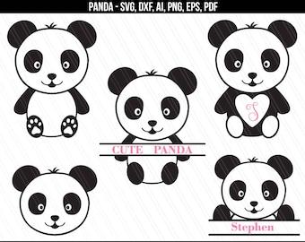 Panda SVG, Baby panda svg, Panda monogram svg dxf cut files, Panda Silhouette cricut, Baby shower girl boy clipart - svg,dxf,eps,ai,png,pdf