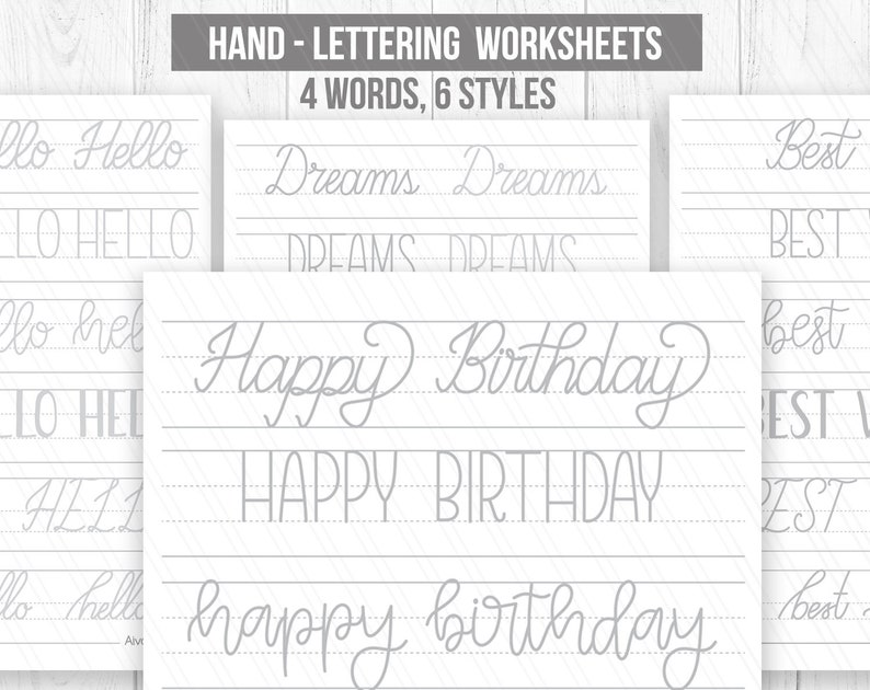 image regarding Printable Hand Lettering Practice Sheets referred to as Hand lettering Worksheets, Handwriting Worksheets, Handlettering terms teach,Printable handlettering Coach sheets- Electronic down load