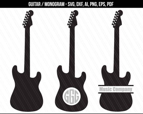 guitar svg guitar monogram svg guitar silhouette clipart etsy