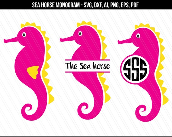 Sea Horse Svg Seahorse Monogram Svg Dxf Cutting Files Etsy