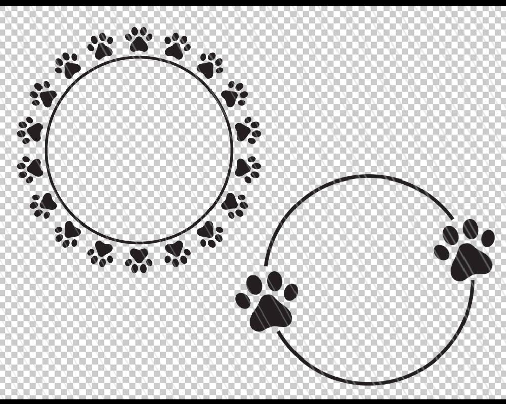 Dog Paw circle monogram frame svg, Paw print svg, Paw monogram ...