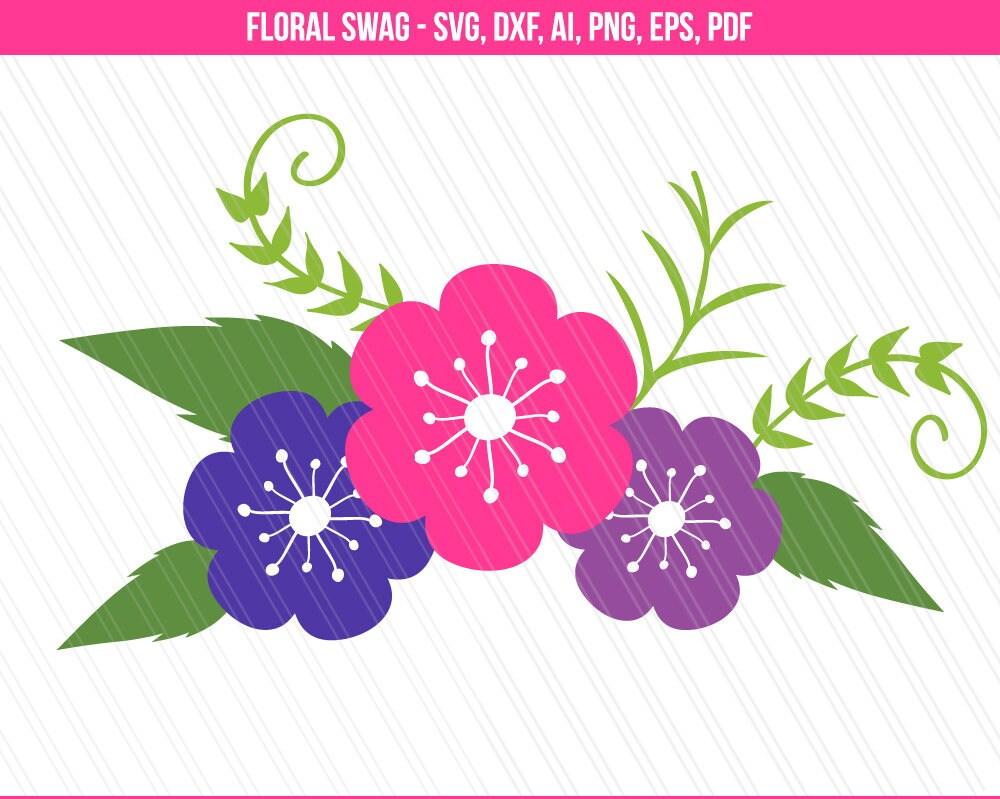 Floral swag svg cutting files Flower svg dxf Garland svg | Etsy