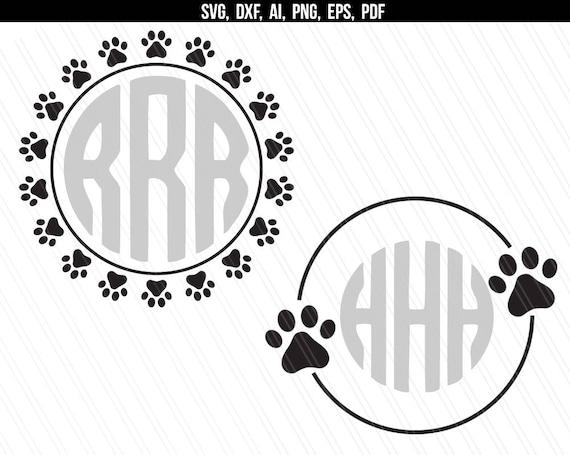 Dog Paw circle monogram frame svg Paw print svg Paw