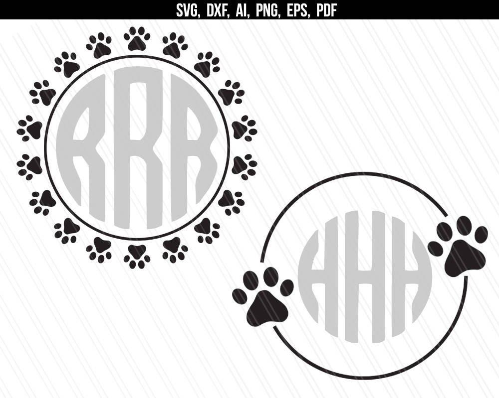 Download Dog Paw circle monogram frame svg Paw print svg Paw | Etsy