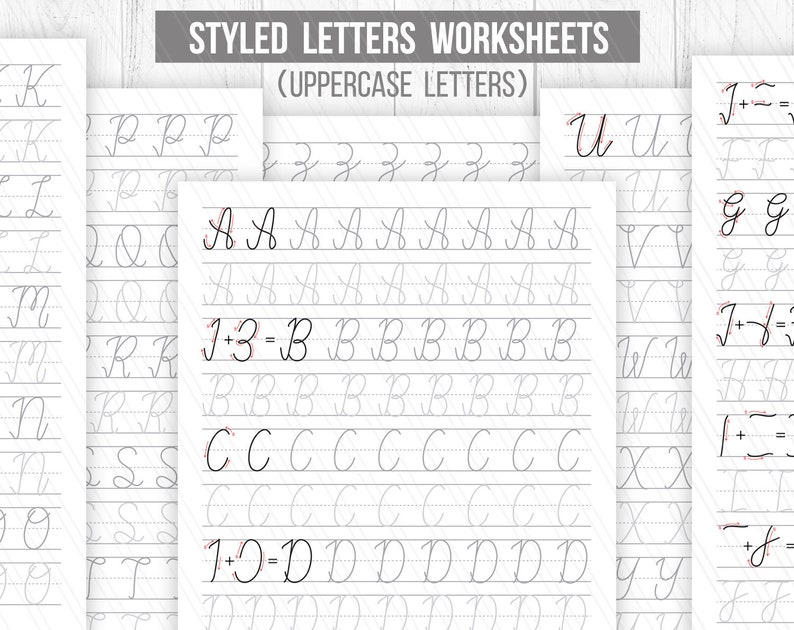 graphic regarding Printable Hand Lettering Practice Sheets named Newbie hand lettering Worksheets,Styled letters Worksheets,Uppercase,Printable handlettering Prepare sheets, Calligraphy-Electronic down load