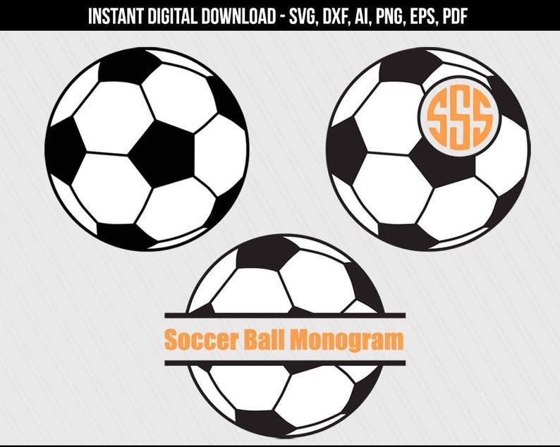 Soccerball svg Soccer ball monogram frame svg cut files image 1