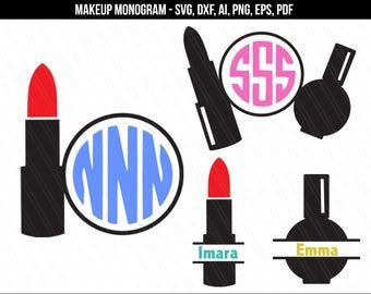 Lipstick monogram svg,Makeup svg, Makeup monogram cutting files, Makeup stylist monogram,Beauty svg,cosmetologist svg-dxf,ai,png,pdf,eps,svg