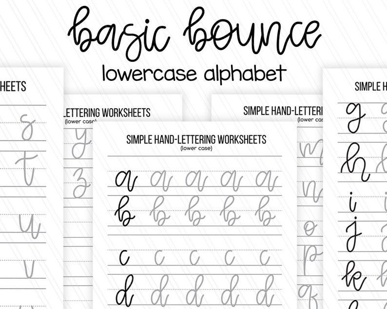Simple Beginner hand lettering practice sheets, Lowercase letters  worksheets, Printable handlettering worksheets- Digital download