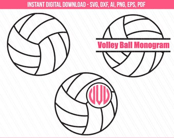 Volleyball svg, VolleyBall Monogram svg, Sports svg, monogram frame svg, cricut, silhouette, vector, clipart - svg, dxf, eps, ai, pdf, png