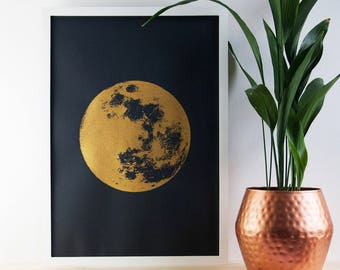 Large Moon Print, Gold Print, Reflection Moon, Boho, Celestial Skies, Poster, A2 Art Print, Prints, Screenprint, Gift Idea, Print, Wall Art