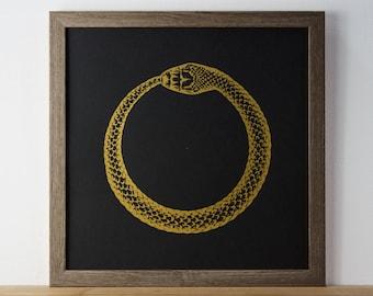 Ouroboros Print, Snake Print, Eternal Life, Gold Print, A3 Print, fathers day, Animal Print, Screenprint, Gift Idea, Print