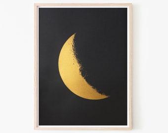 Crescent Moon Gold Screen Print