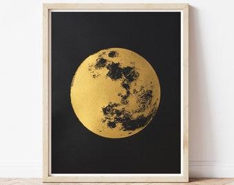 Gold Full Moon Art Print, Metallic Gold Boho Print
