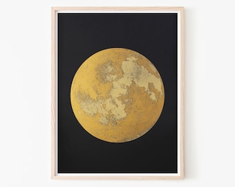 Large Moon Metallic Gold Screen Print, Realistic Moon Modern Home Decor, Best Friend Gift