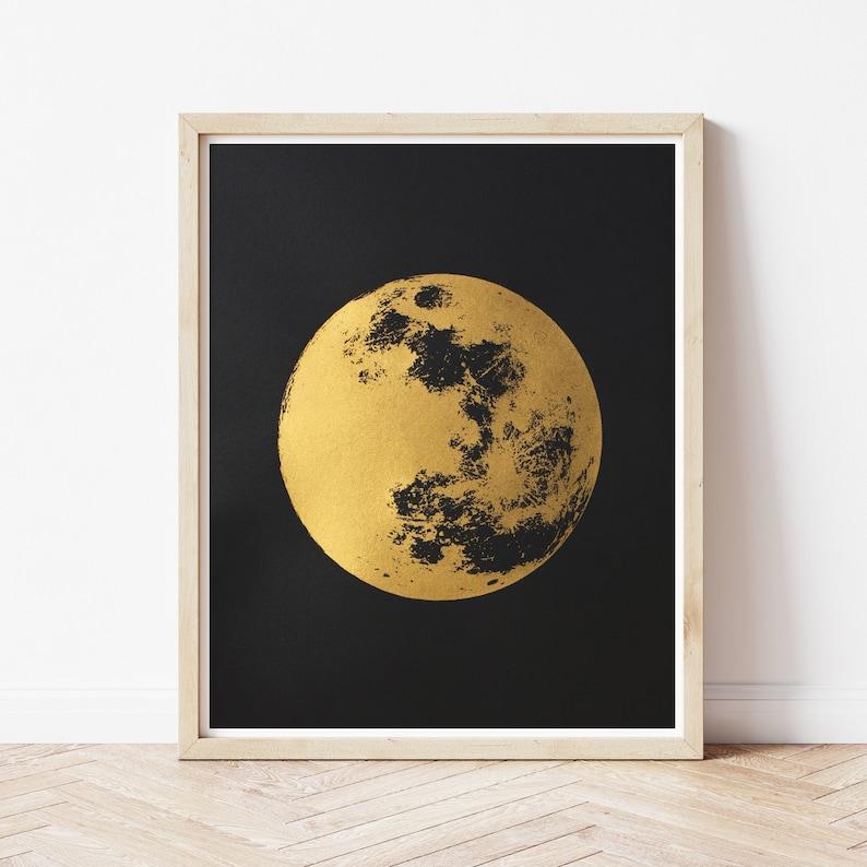 Gold Full Moon Art Print Metallic Gold Boho Print image 0