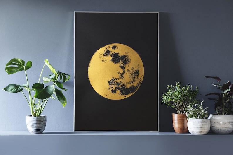 Moon Print Gold Print Reflection Moon Boho Bohemian Art image 0