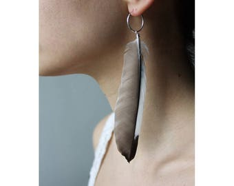 Boho Jay Feather Earrings, Feather, Hoop Earrings, Real Feather Earrings, Natural Feather, Bohemian Style, Festival, Gift