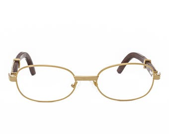50af405d6e57b Cartier Style Wood Frame Glasses