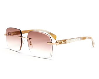 9ee70eea8d Gold   White Buff Rimless Sunglasses
