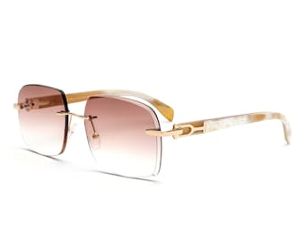 f8ad9f6051 Gold   White Buff Rimless Sunglasses