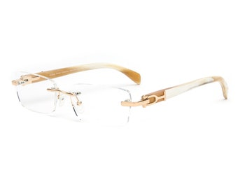 99554fdf5b05e Rectangular Rimless Silver or Gold Frame White Buffalo Horn Temples