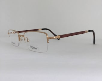 9fb9cc4bf3b Semi Rimless 22 KT Gold Plated Eyeglasses Brown Wood Temples
