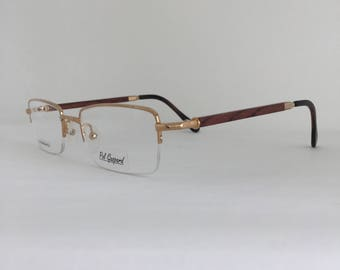 a1007635375ac Semi Rimless 22 KT Gold Plated Eyeglasses Brown Wood Temples