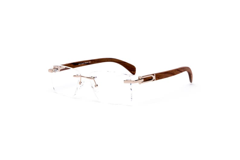 ad960c518096 Vintage Wood Collection Square Rimless Gold Frame Brown Wood