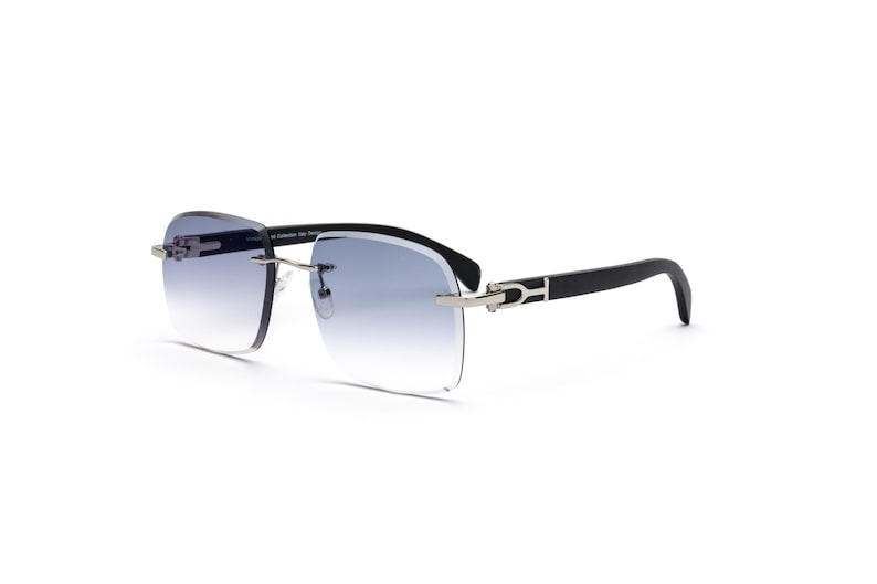 56719e0c7249 Vintage Wood Collection Square Rimless Silver Frame Black