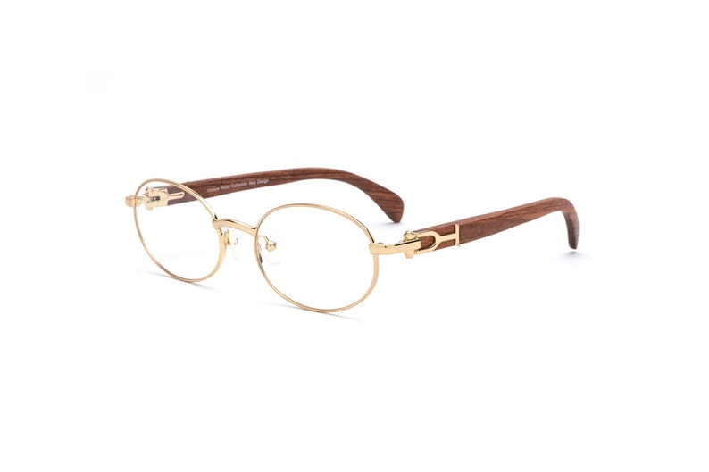 ee66ddab1b Cartier Style Wood Frame Glasses Oval Gold Frame Brown