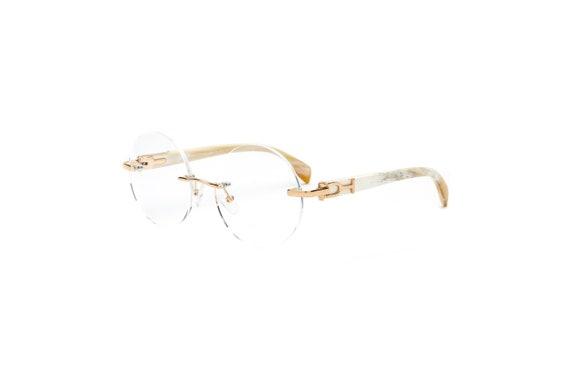 8f0653cded White Buffalo Horn Eyeglasses Frame Cartier Style White