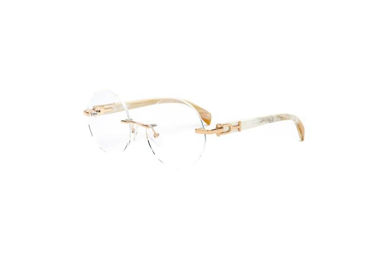 880e71197d3 White Buffalo Horn Eyeglasses Frame Cartier Style White