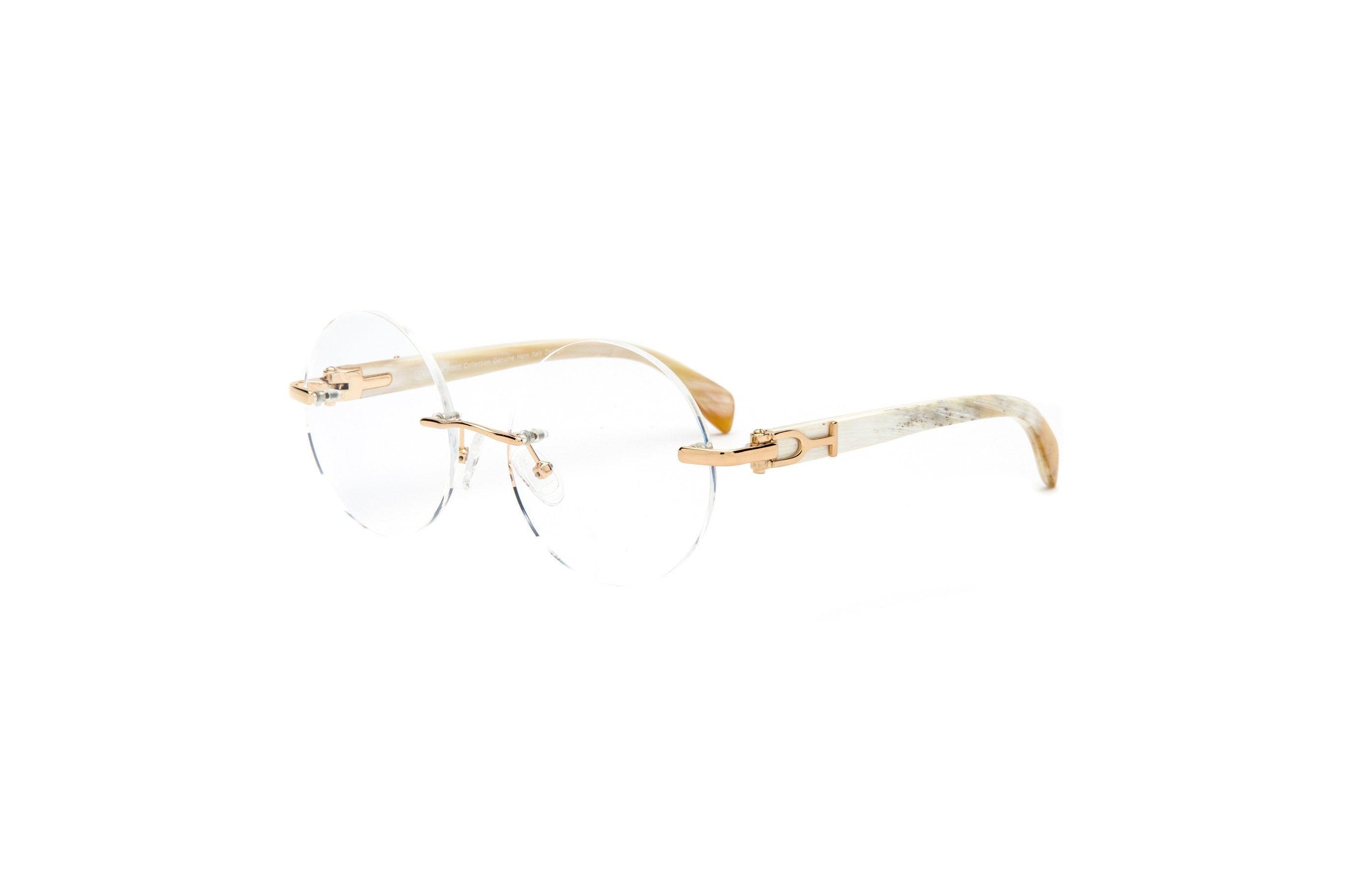 26fb839ae1b71 White Buffalo Horn Eyeglasses Frame Cartier Style White