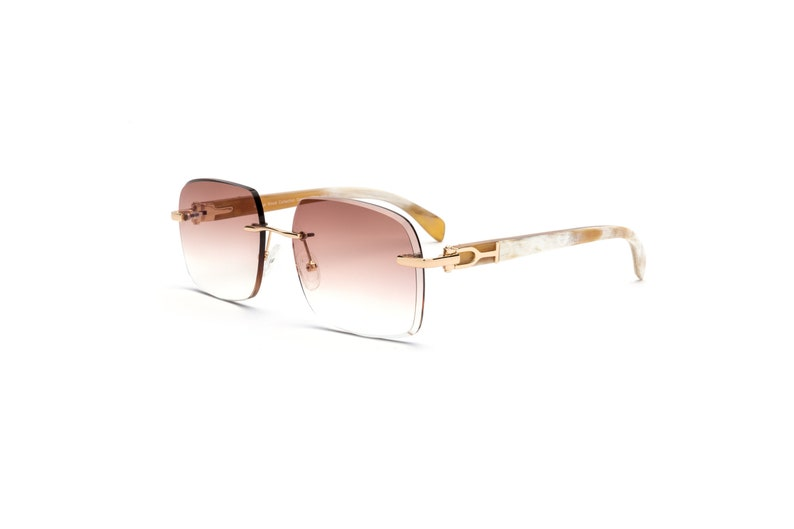 5ef6a96c23e9 Gold   White Buff Rimless Sunglasses Gradient Brown Square