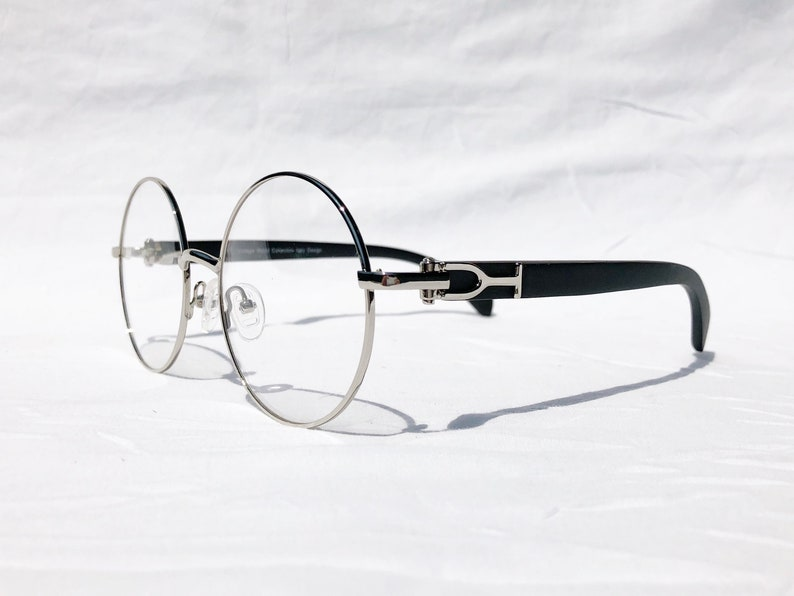 f392fdd322db Round Cartier Style Eyeglasses Silver Frame Black Genuine