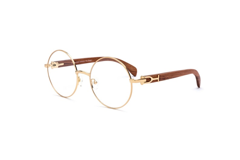 2ace3f022a Vintage Wood Collection Round Gold Frame Brown Wood Temples