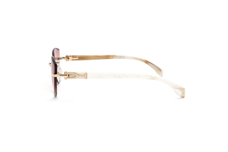 307c6f8f0cb3 Vintage Wood Collection Eyewear Rimless Cat Eye Sunglasses