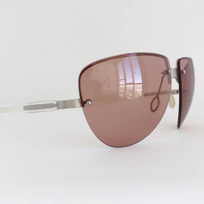 443ddb06d77 Prada Vintage Sunglasses SPR 73A 2AC 8B1 Rimless Oversized