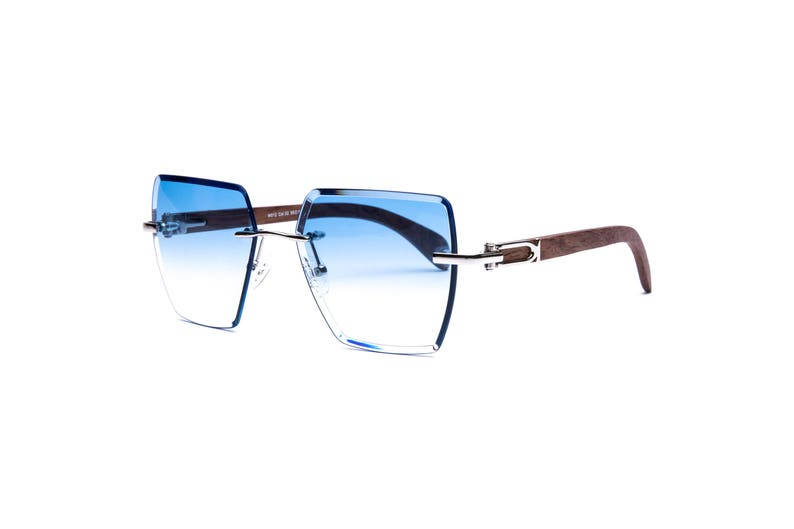 0ceb0652359 Vintage Wood Collection Rimless Square Beveled Sunglasses