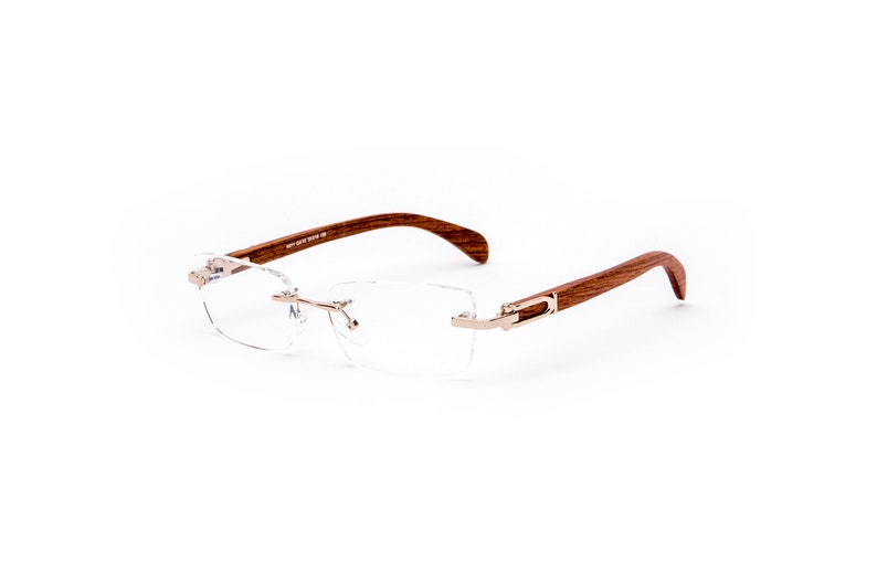 c26e265d3fb7 Vintage Wood Collection Rectangular Rimless Gold Frame Brown