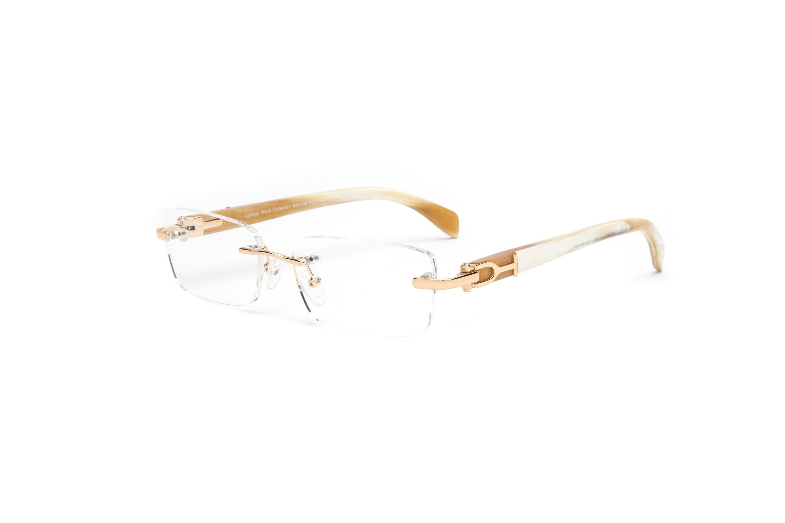ba4356b5a0e4 Rectangular Rimless Silver or Gold Frame White Buffalo Horn