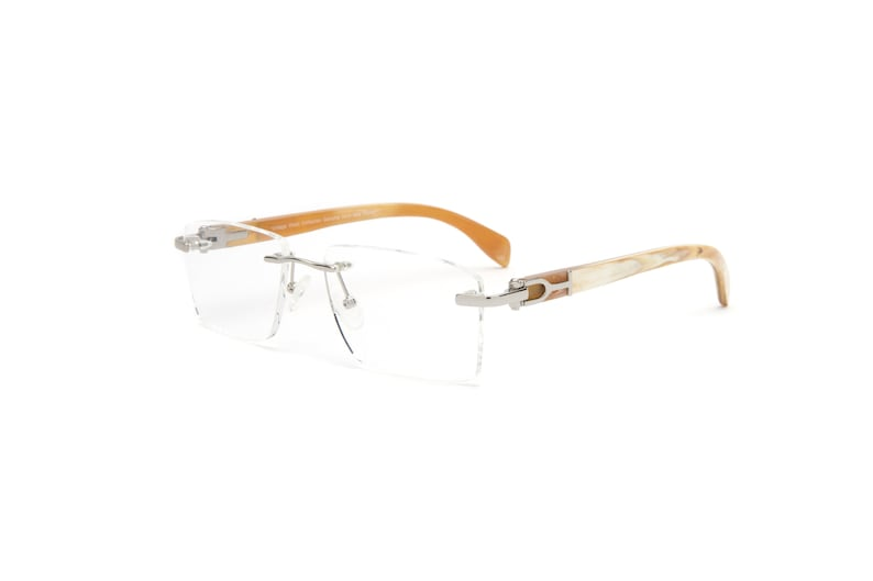 abf1e2d08c Genuine White Buffalo Horn Glasses Gold or Silver Rimless