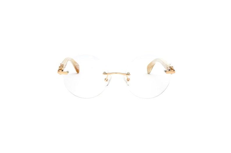 7b561acad93 White Buffalo Horn Eyeglasses Frame Cartier Style White