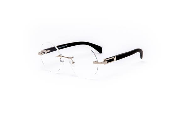 aeadaddf047 Vintage Wood Collection Round Rimless Glasses Silver Frame